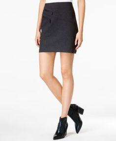 Pair this sassy mini skirt by Bar Iii with sky-high heels for a daring look. | Polyester/rayon/spandex | Machine Wash | Imported | Pull-on style | Asymmetrical zip detailing at front | Pencil silhouet