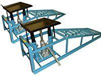 1 Paar Auffahr-Rampen / Geeignet für PKW und Klein-Transporter / Reifenbreite bis 225 mm / 2 Hydraulik-Wagenheber / Belastbar bis zu 4 Tonnen / TÜV und GS geprüft