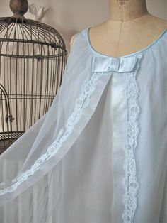 Jackie | Vintage 1960's Light Blue Nylon Chiffon Trapeze Walk Away Nightgown with Lace Trim and Satin - Vanity Fair by BobbinsNBombshells on Etsy