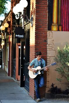 Senior Picture - Bishop Arts District - Music guitar or maybe saxophone???