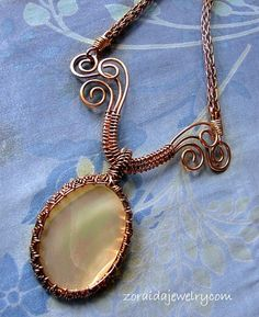 Handmade Mother of Pearl Bronze Woven Pendant Necklace by Zoraida on Artifre
