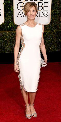 Golden Globes 2015: Red Carpet Arrivals - Felicity Huffman from #InStyle #2015goldenglobes #redcarpet