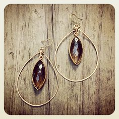 """Gold framed Smokey Topaz on 14kt gold filled wire wrapped drop earring,  2.5"""""""