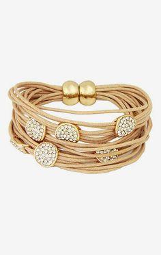 Gold & Nude Sparkle String Bracelet
