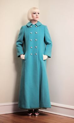 Vintage 1960s Turquoise Blue Wool Coat Long with by BasyaBerkman, $80.00