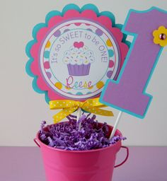 Colorful Cupcake Birthday Party Smash Cake Topper