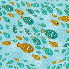 Seamless pattern with fish on a blue water background. vector Royalty Free Stock Vector Art Illustration
