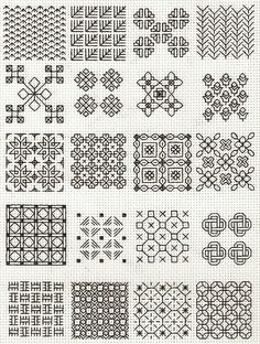 blackwork fill-in patterns from Lesley Wilkins Beginner's Guide to Blackwork - cross stitch I've been planning a largeish-scale blackwork project. These may come in handy.as an alternative, use a different colour of embroidery floss. Motifs Blackwork, Blackwork Cross Stitch, Blackwork Embroidery, Cross Stitching, Cross Stitch Embroidery, Cross Stitch Patterns, Beginner Embroidery, Embroidery Tattoo, Embroidery Sampler