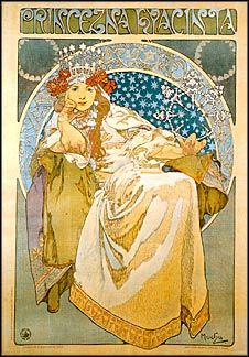 Princess Hyacinthia. Painting by Alphonse Mucha.  1911. Printed on Recycled Paper. $2.50