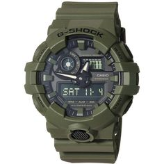 G-Shock GA-700UC (Green) Sport Watches ($99) ❤ liked on Polyvore featuring men's fashion, men's jewelry, men's watches, mens analog watches, mens digital watches, mens analog digital watches, g shock mens watches and mens green watches
