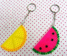Perler bead Keychains - Watermelon pink or Lemon yellow on Etsy, $3.50