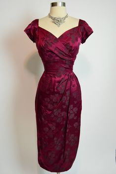 COUTURE LEE CLAIRE New York 1950s Burgundy Wine Silk Brocade Drape Wiggle Dress | eBay