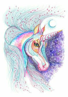 Space Unicorn horse high quality art print size by TevaKiwi Real Unicorn, Unicorn Horse, Unicorn Art, Funny Unicorn, Unicorn Crafts, Unicornios Wallpaper, Rainbow Wallpaper, Unicorns And Mermaids, Watercolor Artwork