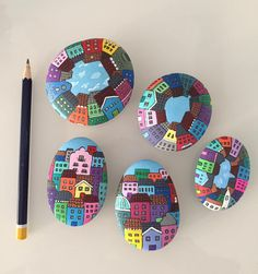Stone art More - DIY ideas club Stone Art Painting, Pebble Painting, Dot Painting, Pebble Art, Stone Crafts, Rock Crafts, Arts And Crafts, Painted Rocks Craft, Hand Painted Rocks