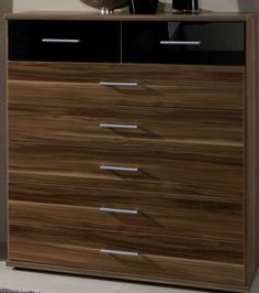 Shiny Chest Drawers Bedroom Furniture Gloss - Black, Walnut Bedside Cabinet Wide #JAFFO #Contemporary