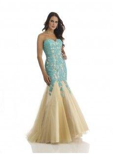 Sweetheart Court Train Blue Tulle Trumpet Mermaid Prom Dress