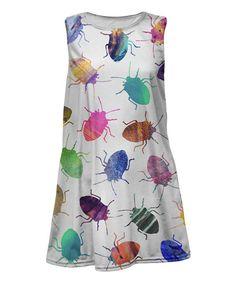 Mr. Gugu & Miss Go Turquoise & White Beetle Sleeveless Dress - Toddler & Girls | zulily