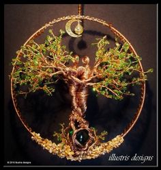 couple wire tree sculpture / suncatcher / wire door illustrisdesigns