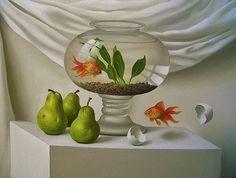 made by: Luis Jesus Prado , 'Liberation of the Fish' - painting (Goldfish)