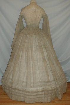 Gossamer 1860's Beige Gauze Vintage Dress w Pagoda Sleeves | eBay