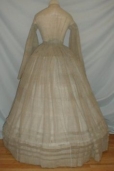 """Gossamer 1860 039 s Beige Gauze Vintage Dress w Pagoda Sleeves 