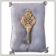 The key to the Petit Trianon, given to Marie-Antoinette by her husband Louis XVI in June of 1774. When he gave it to her there was a ribbon on it with 531 diamonds. I'd like to think he's the one who made the key too, I could see him doing that.