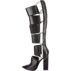 Pre-owned Alexander Wang Marta Knee Boots ($395) ❤ liked on Polyvore featuring shoes, boots, black, knee high boots, black shoes, real leather boots, zipper boots and alexander wang boots