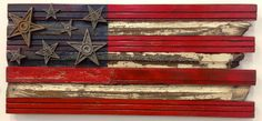 America the beautiful. Plain and simple. Celebrate this country with a reclaimed wood flag, perfect for indoors or out. Wood Flag, Reclaimed Wood Art, Wooden Walls, Wall Sculptures, Old Houses, My Arts, Indoor, Symbols, Traditional