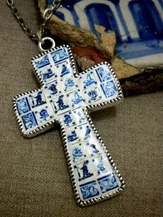 Portugal Large Cross with Antique Delft Tile Replicas from Pasteis de Belem 1837    (see actual Mural  photo). $37.00, via Etsy.