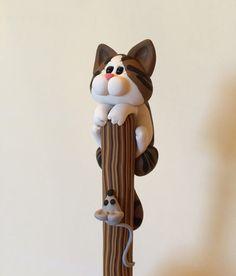 Polymer Clay Brown Tabby Cat Ballpoint Pen by handmademom on Etsy