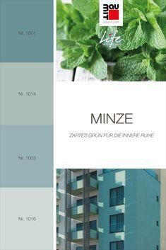 Minze ist eine der kühleren, gedämpfteren Variationen der Farbe Grün. Minzgrün fügt sich ideal in verschiedene mittlere bis helle Grau- und Staubbrauntöne ein. Es ist besser für kleinere Fassadendetails in einer städtischen Umgebung geeignet. Minzgrün kommt in unserer geografischen Region nicht wirklich in der Natur vor. Deshalb ist es besser für kleine Fassadenteile geeignet. #Farbtrends2020wohnen #Farbtrends2020 #Farbtrend #Farbtrendswohnen #grün #farbinspiration #minze #wandfarbe Colours, Nature, Mint, Paint, Environment, Get Tan, Grey, Naturaleza, Nature Illustration