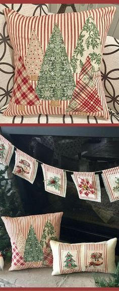 I really like that the trees are in different Christmas fabrics... I like the patchwork look a lot! Christmas Tree Pillow, Christmas Pillow Cover, Trees Pillow Cover, Farmhouse Christmas, Farmhouse Christmas Decor, Red Ticking Christmas, Rustic Christmas decor #ad #christmasdecorationsrustic #decoratingachristmastree #decorativepillowcovers #christmastreedecoration #christmasdecorating