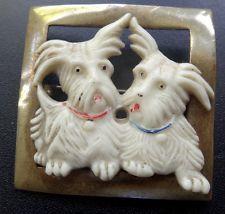 vintage art deco Scottie dog pair celluloid & brass animal brooch c pin -C845