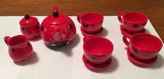 Girls Ceramic Tea Service Set - 13 Piece looks like a Ladybug #XIEHONGCERAMICS