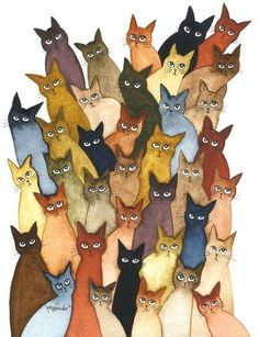Many Stray Cats | Lori Alexander | http://www.straycatartbylorialexander.com/whimsical-cats