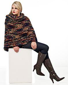 Poncho multicolor Suntuoso #trico #ModaInverno #CoatsCorrente