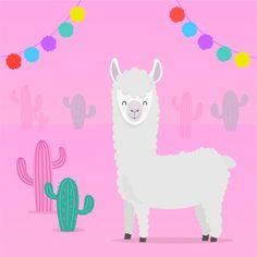 Cute Alpaca, Llama Alpaca, Baby Alpaca, Cartoon Llama, Cute Cartoon, Alpacas, Llamas Animal, Llama Face, Cactus