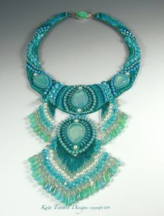 """Cascade"", bead embroidered collar by Kate Tracton Designs."