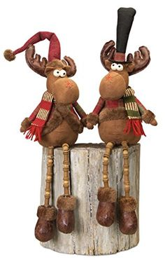 International Red/Brown Polyester Sitting Moose with Dangling Legs (Set of (Sitting Moose w/Dangle Legs (Set of Christmas Moose, Christmas Fabric, Rustic Christmas, Handmade Christmas, Christmas Projects, Holiday Crafts, Holiday Decor, Moose Crafts, Moose Decor