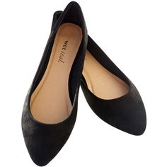 Orly Shoe Corporation (import)  Pointed Faux Suede Skimmer Flats ($12) ❤ liked on Polyvore featuring shoes, flats, black, wet seal, black flat shoes, black flats, ballet flats, ballet shoes e black shoes