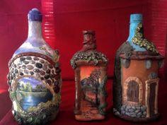 decoracion de botellas de vidrio en relieve