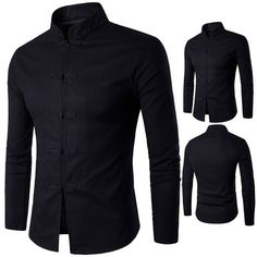 """HOT PRICES FROM ALI - Buy """"Mazefeng Men Clothing Casual Shirts Men traditional Chinese garments Male China Dress Solid Classic Stand collar """" from category """"Sports & Entertainment"""" for only USD. Camisa China, Casual Shirts For Men, Men Casual, Long Sleeve Tops, Long Sleeve Shirts, Business Shirts, Chinese Clothing, Denim Coat, Mandarin Collar"""