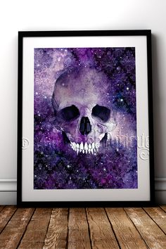 Dead Space ultra violet gothic skull fine art print #RockChicBoutique #GothicHomeDecor #Skulls #WallArt #AlternativeDecor