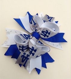 LA Dodgers Hair Bow, Boutique Hair Bow, Girl Hair Bow.  - 5 inches across approx.  - 3 layers Tall  - alligator clip ( can be changed to French