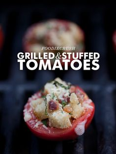 Stuffed and Grilled Tomatoes with Pancetta #recipe on foodiecrush.com
