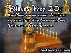 Fact 20 - Walt Disney won one regular sized Oscar & seven little sized Oscars for Snow White & The SevenDwarfs (Fact by CuteDisneyFacts @Tumblr) #SnowWhiteAndTheSevenDwarfs