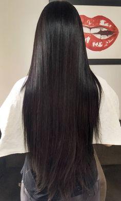 How To Straighten Curly Hair Long Dark Hair, Very Long Hair, Straight Black Hair, Long Black, Beautiful Long Hair, Gorgeous Hair, Hair Smoothening, Silk Hair, Straight Hairstyles