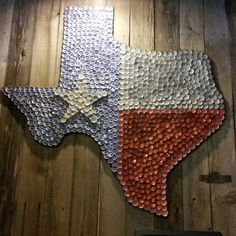 Beer bottle cap art #texas #love    Pinned by http://high5collegeclub.com