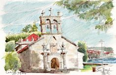 Capilla del Hospital, Cangas de Morrazo aquarelle, crayons de couleur, graphite Papier Canson Montval 210g grain fin