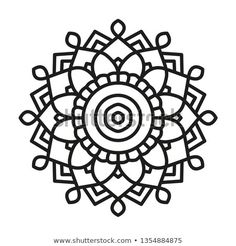 Simple Mandala Shape for Coloring. Vector Mandala. Floral. Flower. Oriental. Book Page. Outline. Mandala Design, Mandala Art, Machine Embroidery Designs, Embroidery Patterns, Cushion Embroidery, Simple Mandala, Painted Clothes, Ethnic Patterns, English Paper Piecing